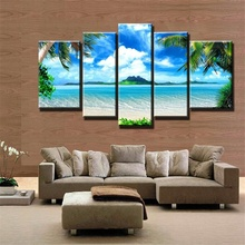 5 Panels paintings for the kitchen Blue sea beach wall decor modern canvas art wall pictures for living room descorative picture