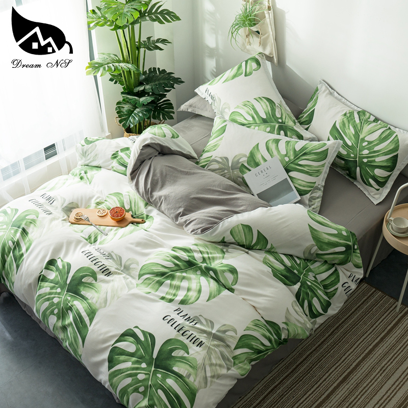 Bedding-Set Bedroom-Cover Nordic Home Pillowcase Rainforest NS Dream Leaf Warm Soft