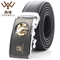 YOUWELL 2016 New Designer Belts Men High Quality Gold Sheepshead Automatic Buckle Genuine Leather Mens Belt Luxury Business