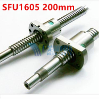 Free Shipping 16mm 1605 Ball Screw Rolled Ballscrew 1pc SFU1605 200mm With 1pc 1605 Flange Single