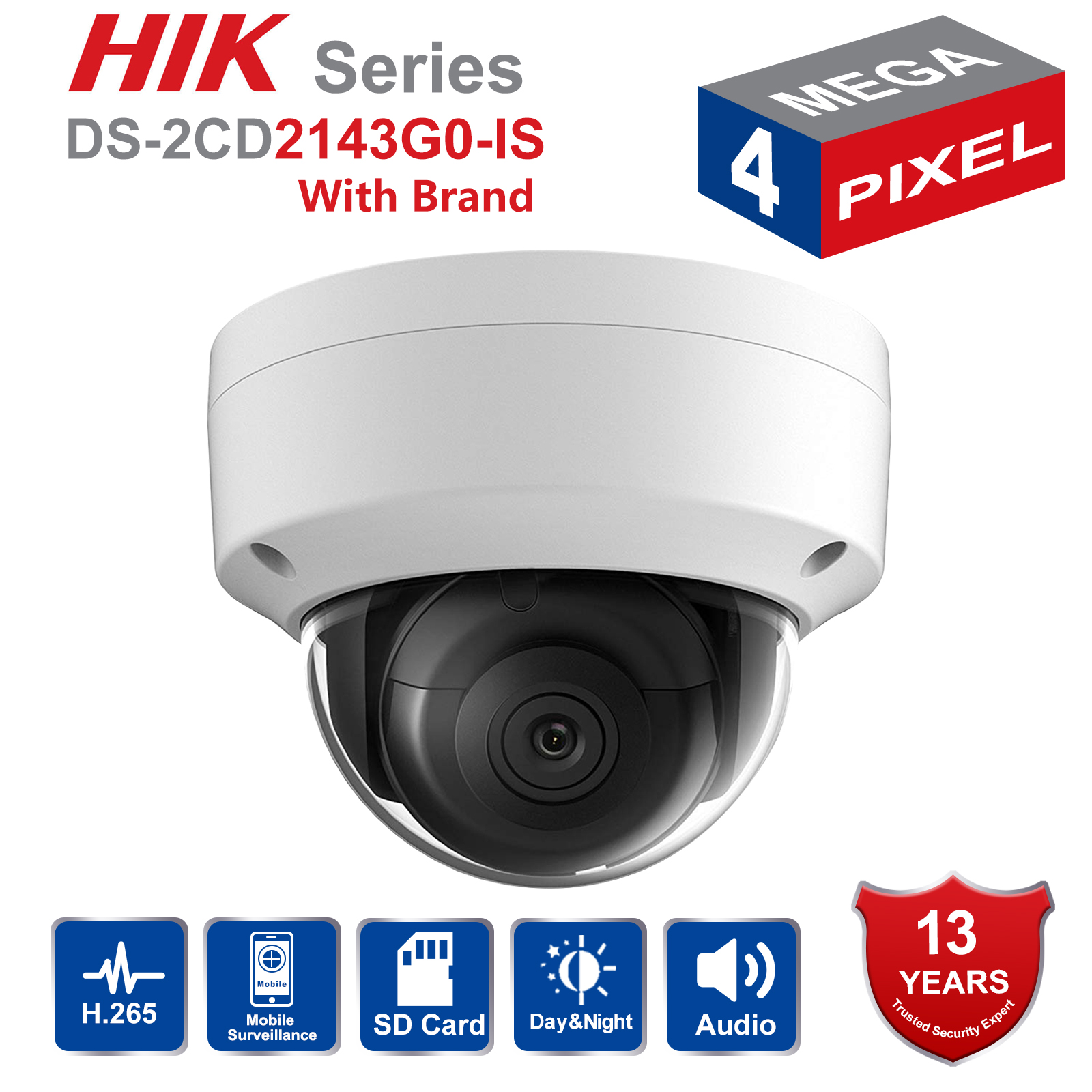 Hik Dome CCTV IP Camera Outdoor DS-2CD2143G0-IS 4MP IR Network Security Night Version Camera H.265 with SD Card Slot IP 67Hik Dome CCTV IP Camera Outdoor DS-2CD2143G0-IS 4MP IR Network Security Night Version Camera H.265 with SD Card Slot IP 67
