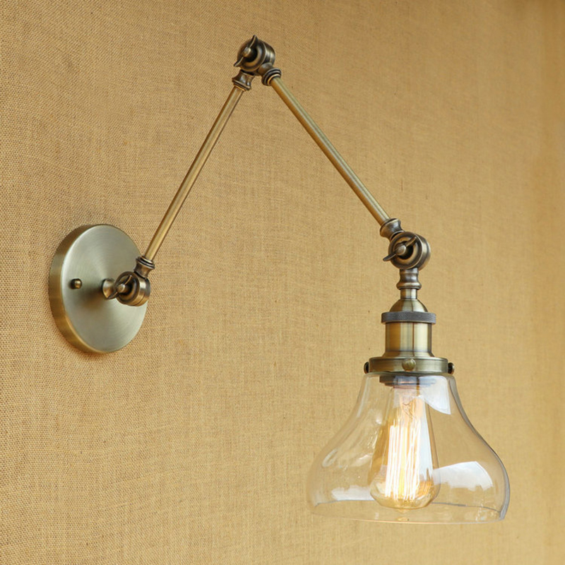Vintage industrie Loft E27 applique murale lampe en verre clair abat-jour libre ajuster longs bras oscillants pour salon restaurant barVintage industrie Loft E27 applique murale lampe en verre clair abat-jour libre ajuster longs bras oscillants pour salon restaurant bar