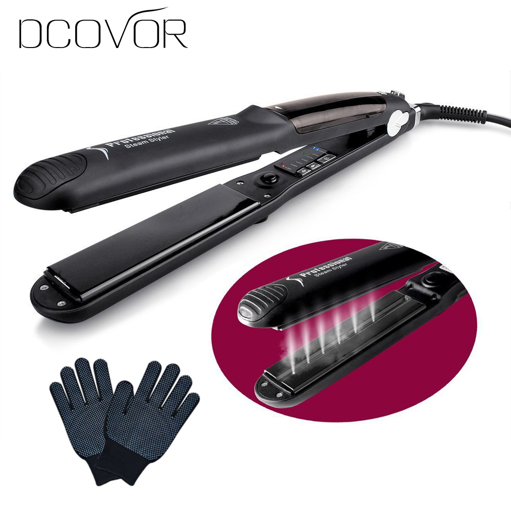 Steam Function Flat Iron Tourmaline Ceramic Vapor Professional Hair Straightener with Argan Oil Infusion Straightening Irons 2017 new hot sale professional salon ptc heating white color ceramic negative ions steam automatic hair curler hair style tools