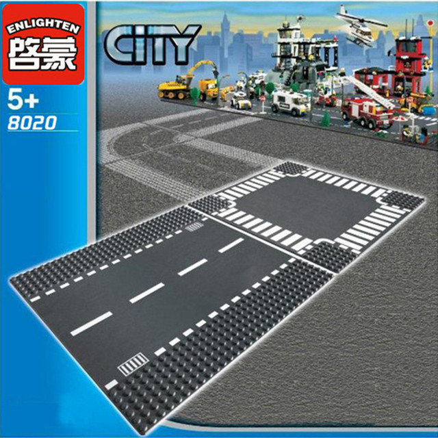 City Road Street Base Plate Straight Crossroad Curve Compatible LegoINGLs DIY Building Blocks Sets Baseplate Parts Bricks Toys