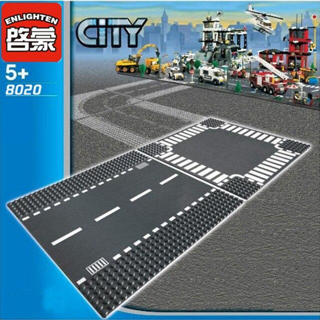 City Road Street Base Plate Straight Crossroad Curve T-Junction LegoINGlys DIY Building Blocks Sets Baseplate Parts Bricks Toys