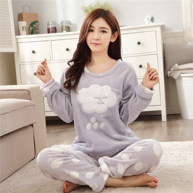 2e852ba47df9 New winter women coral velvet pajamas lady long sleeved sleepwear suit  primark pyjamas women sweet flannel clothing nightgown