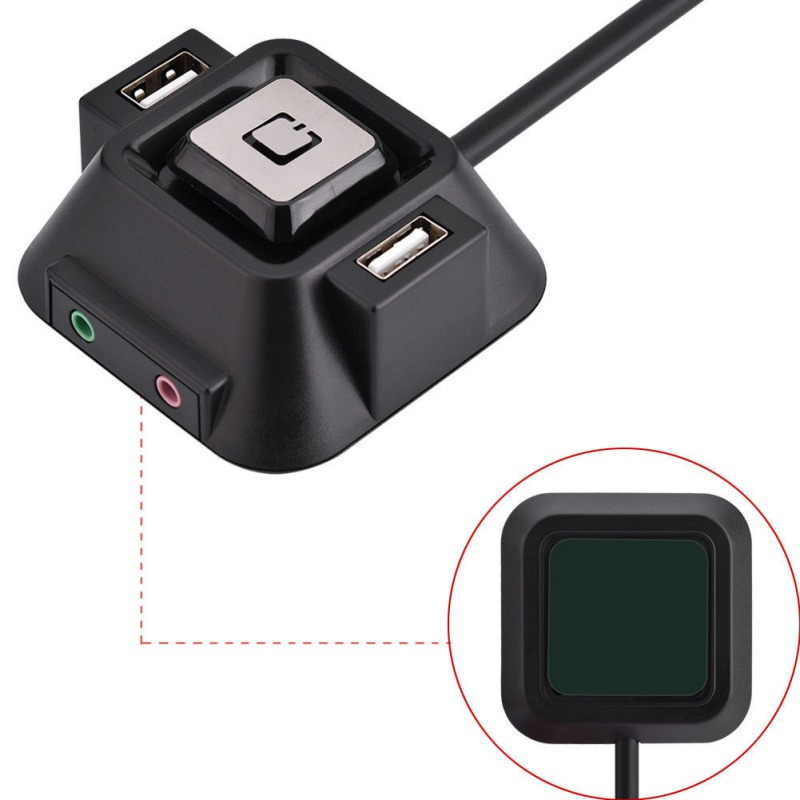 Computer Desktop PC Case Switch Power On/off Button With Dual USB Ports + Audio Mic Port For Home Internet Cafes Office