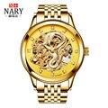 Chinese Dragon Mechanical Skeleton Rhinestones watch Anniversary Edition NARY Gold Watches Men 3D men Wrist Watch Waterproof 50m