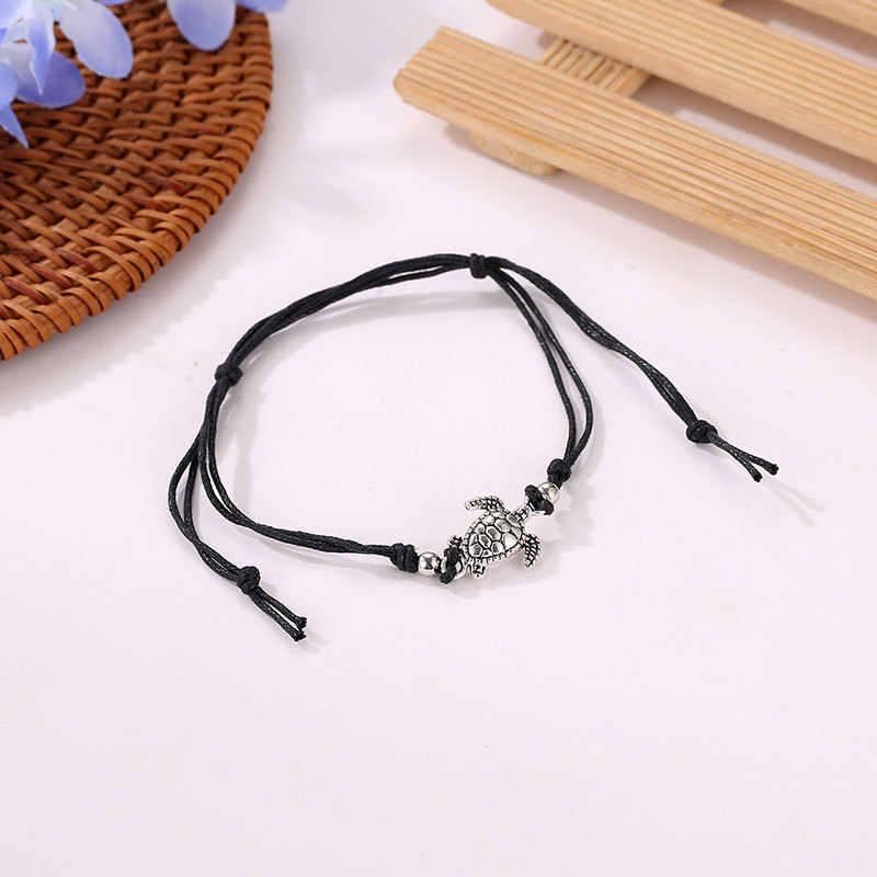2019 lato plaża żółw wisiorek kształtowany sznurek linowy obrączki dla kobiet bransoletka kostki sandały damskie na noga łańcuch stóp biżuteria