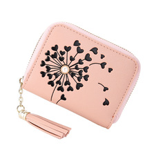 2019 new Korean version of the simple pu leather zipper multi-card mini short ladies wallet tassel print blindera mujer