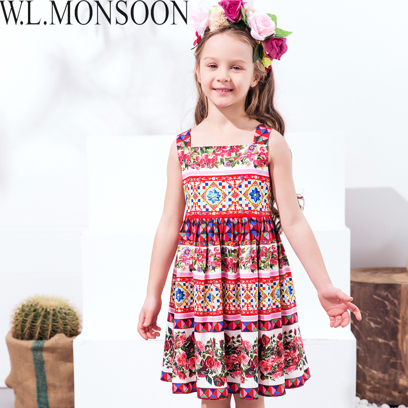 f5440cd880676 W.L.MONSOON Girls Summer Dress 2018 Brand Princess Costume for Kids Dresses  Clothes Flower Vestidos Children