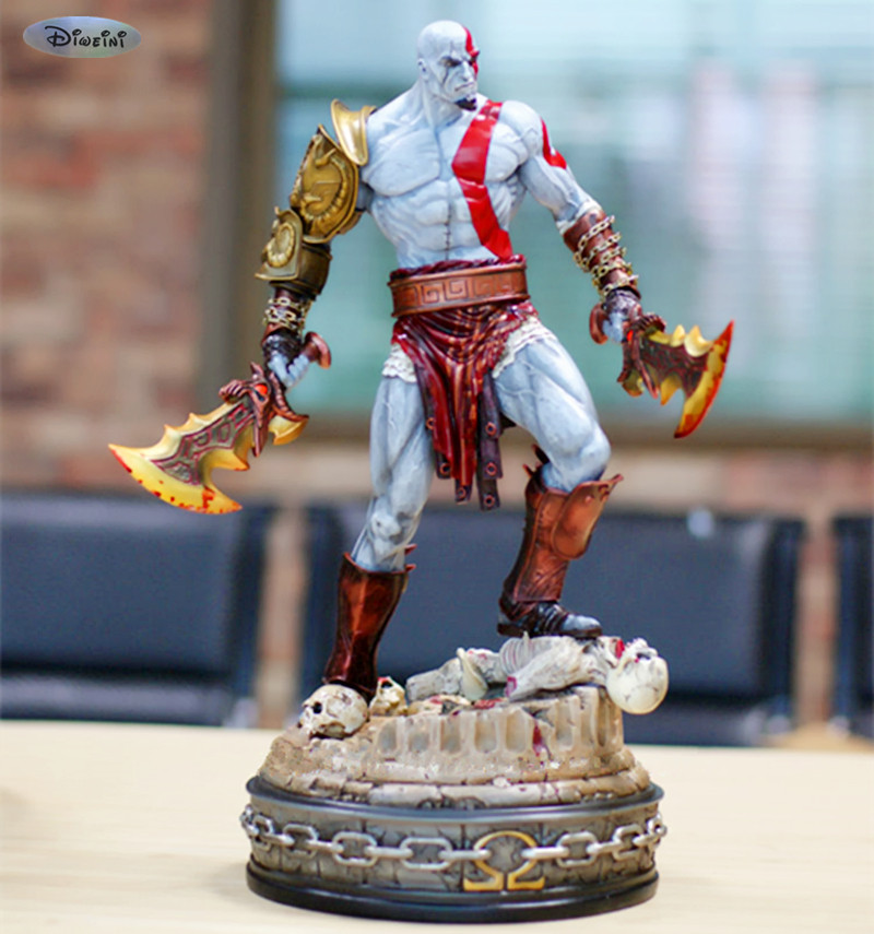 100% NEW Big Size God of War Statue Kratos GK Action Figure Collection Model Toy 45CM Resin WU691 [resin made] 1 4 scale god of war 3 kratos resin figure statue fans action figure collectible model toy 35cm retail box wu785