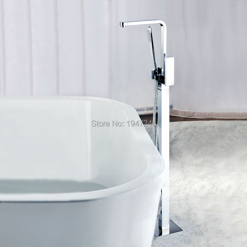 Polished Chrome Purist Floor Mounted Roman Tub Faucet Trim with Metal Lever Handle and Built-In Diverter With Hand Shower