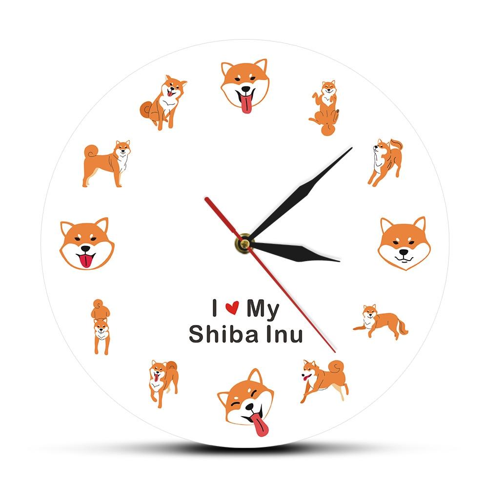 Shiba Inu Dog Pet Modern Wall Clock Children Room Cartoon Animal Wall Art Timepiece Japanese Brushwood Dog Shiba Ken Clock Watch
