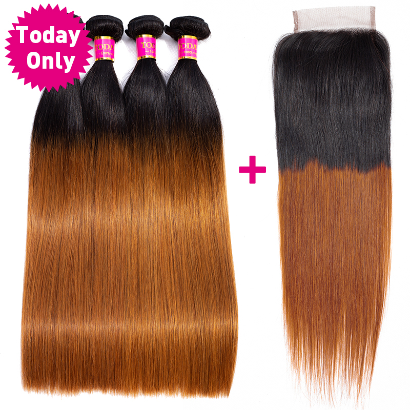 TODAY ONLY Peruvian Hair 4 Bundles With Closure Ombre Straight Hair Bundles With Closure Remy Human