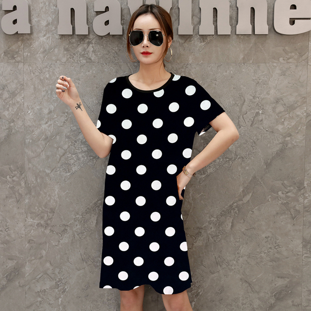 US $6.64 41% OFF|Aliexpress.com : Buy New summer 2019 Fashion Women short  sleeve Dresses Plus Size Dress Loose girl casual tops tunic pullover  elegant ...