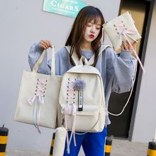 4Pcs/Set Ribbon Chain Bowknot Letter Canvas Backpack Travel Rucksacks Daypack For Teenage Girls School Bagpack baida fashion green floral print backpack flower pattern women cool daypack teenage school bags for youth girls boys rucksacks