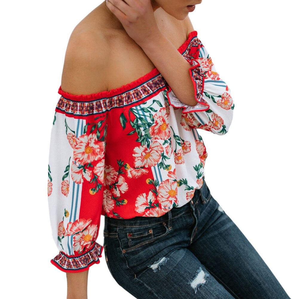 Summer Fashion Women Clothing female Off Shoulder Loose lantern Sleeve Casual   Blouse     Shirt   Tops Ruffles flower Tops tee