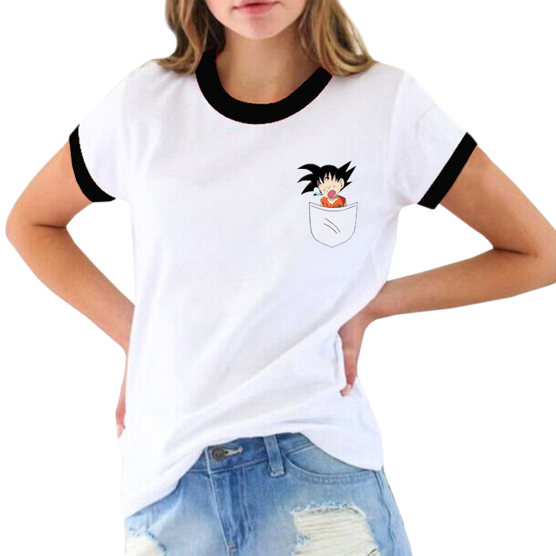 Anime T Shirt women Dragon Ball Design T-shirt Fashion Casual Funny Cartoon pocket Goku Printed Tee Shirts Blusa
