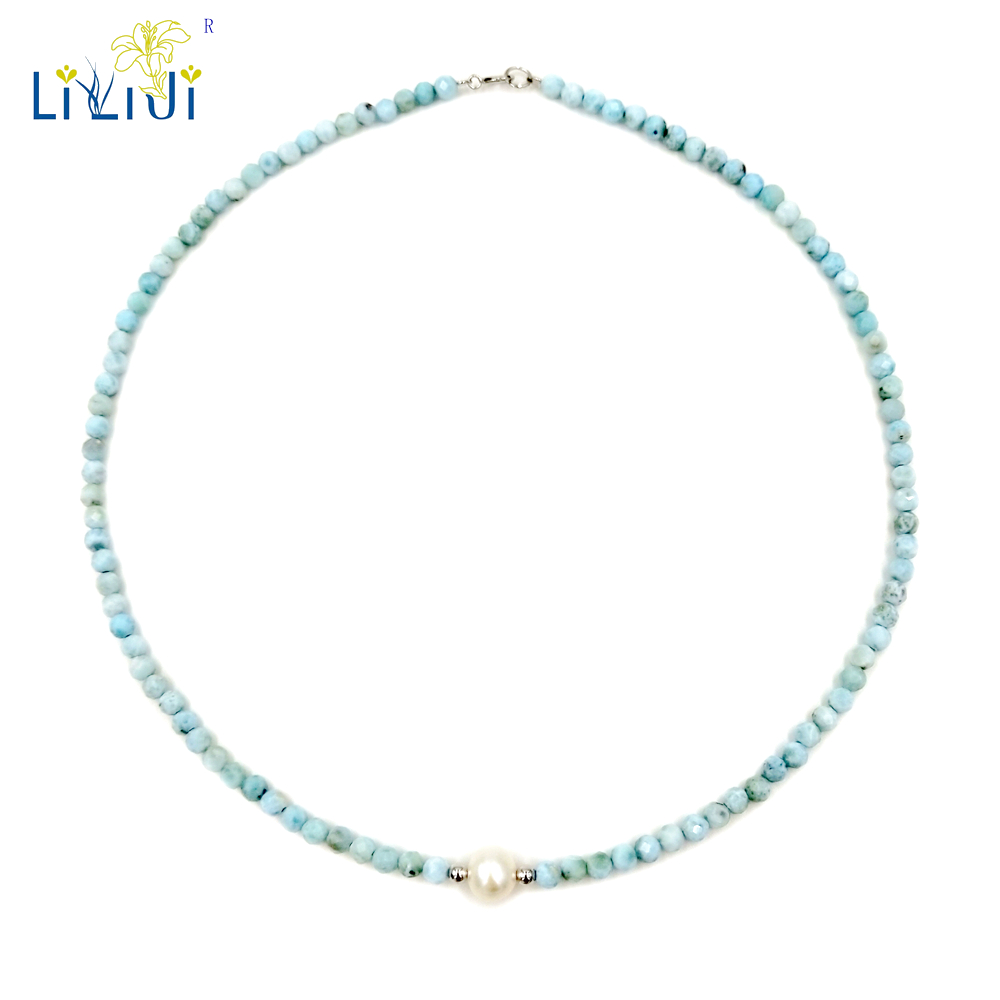 LiiJi Unique Natural Stone Blue Larimar 2mm/4mm Round Faceted Beads Freshwater Pearl 925 Sterling Silver Choker Necklace
