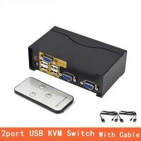 2 Port USB Kvm Switch VGA splitter Schalter Adapter Drucker Verbinden Tastatur Maus 2 Computer Verwenden 1 Monitor with cable