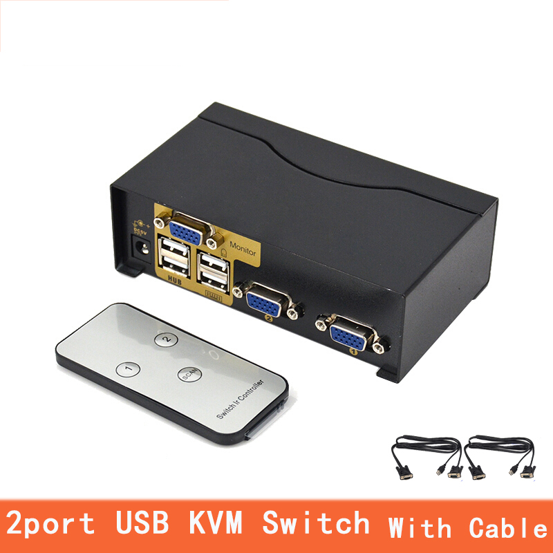 2 Port Usb Kvm Switch VGA Splitter Schalter Adapter Drucker Verbinden Tastatur Maus 2 Computer Verwenden 1 Monitor With Kabel