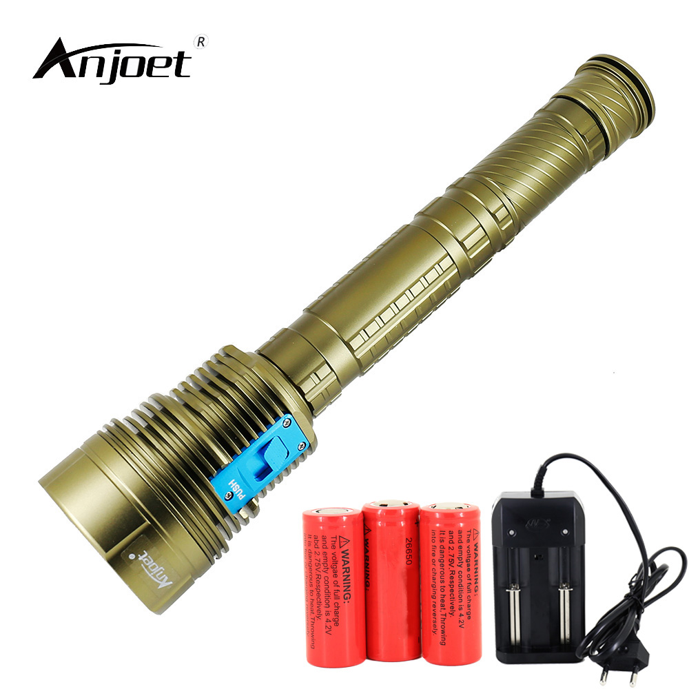 ANJOET Diver Torch Light 14000 lumen Durable 7*XM-L2 DX7 Underwater LED Diving Flashlight Outdoor hunting+Charger+26650 Battery new power 18000 lumen underwater flashlight 7 x xm l2 led scuba diving flashlight diver torch light have 3x18650 and charger