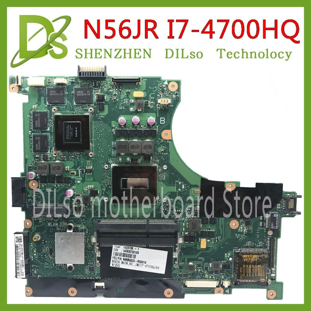 KEFU N56JR For ASUS N56JR Laptop motherboard N56JR N56JK mainboard REV2.0 i7-4700HQ with GT740M Graphics card