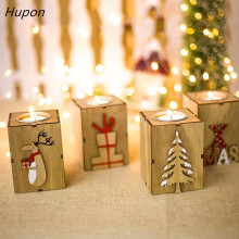 navidad 2018 wood candle holders tealight candlesticks lantern vintage christmas decorations for home new year party