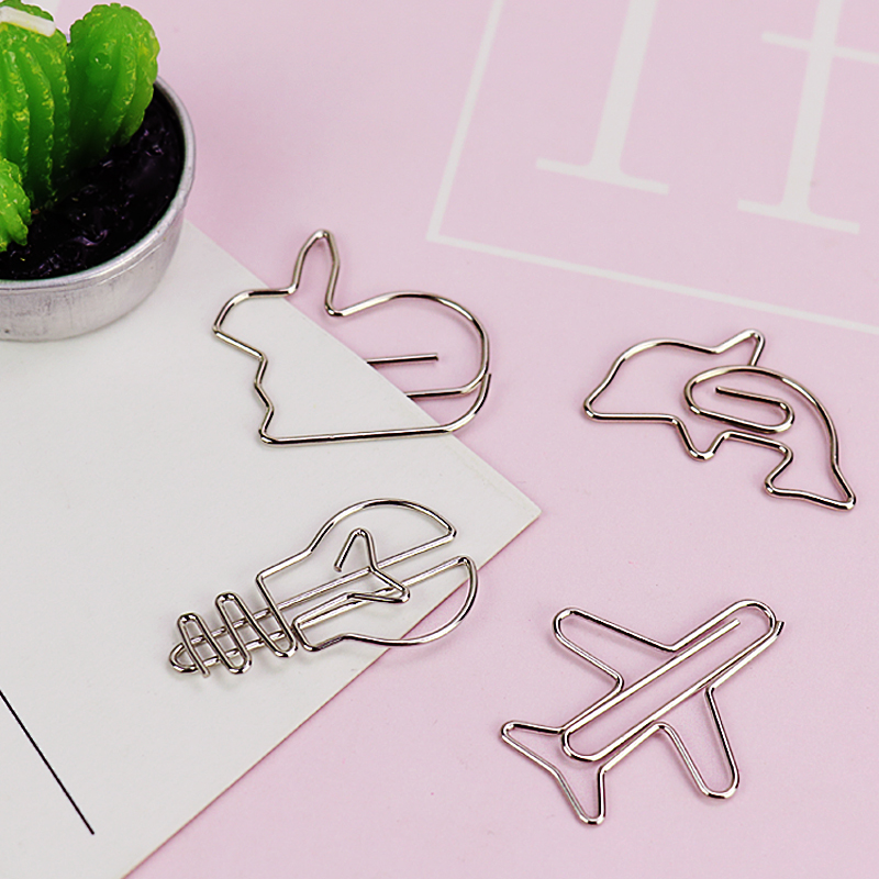 TUTU 4pcs Metal Material Dolphin Plain Shape Paper Clips Gold Silver Color Bookmark Office School Stationery Marking Clips H0045