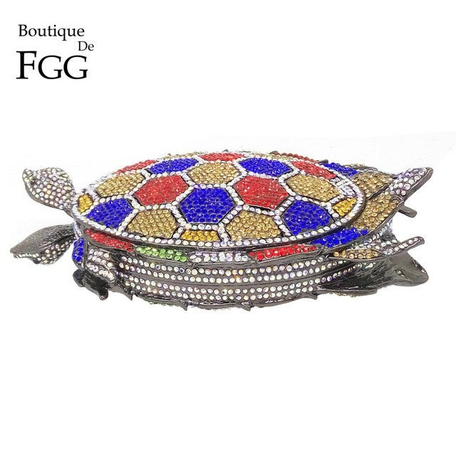 Famous Brand Multi Crystals Diamond Turtle Women Mini Evening Clutches Purse Wedding Party Prom Bridal Metal Chain Shoulder Bag