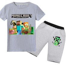 Summer new cartoon Minecraft children's suit cotton short-sleeved T-shirt + pants kids sports suit boys and girls clothing 6-14Y 2018 minecraft pants long sleeve suit boy clothing jacket spring and autumn hooded sweater suit children s t shirt 6 14y