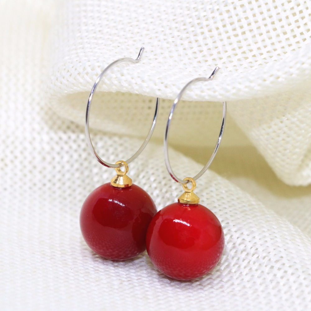Top Quality Elegant Dangle Earrings Earbob Dark Red Round Imitation Coral  Eardrop For Women 8,