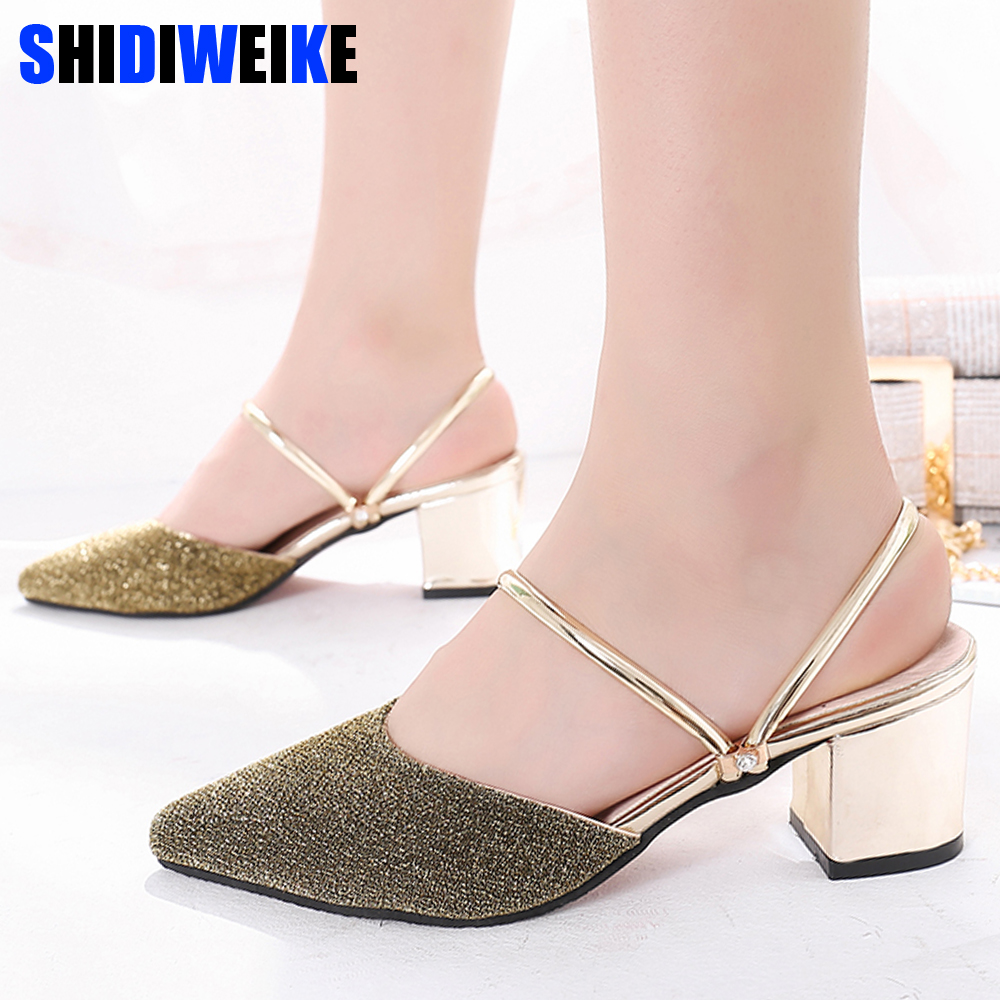 Shoes Fashion Womens Sequins Pointed Shoes High Square Heel Slippers Sandals Casual Pointed Toe shoes woman 2019 m933Shoes Fashion Womens Sequins Pointed Shoes High Square Heel Slippers Sandals Casual Pointed Toe shoes woman 2019 m933