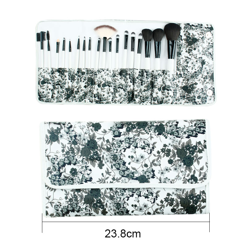 цена на ISMINE blush foundation lip powder brushes Black and White Ink Painting 18pcs make up brush Nylon Hair Cosmetic Brush Set