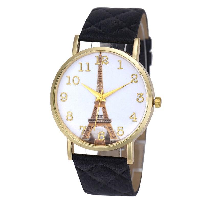 Excellent Quality Quartz Watch Womens Paris Love Letter Watches Eiffel Tower Pattern PU Leather Band Relogio Feminino Wristwatch