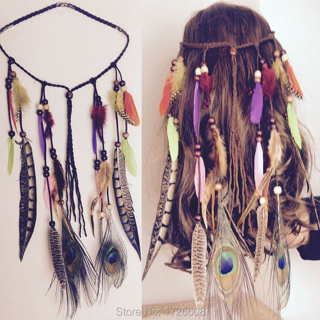 Hot Boho Weave Bird Feather Tel Festival Headbands Native American Indian Hippie Headband Headdress Hair Accessories