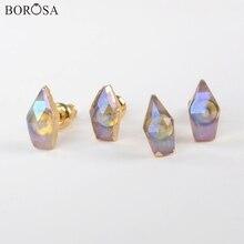 BOROSA 5/10Pairs New Gold Plating White Quartz Titanium AB Faceted Stud Earrings Crystal Jewelry G1850