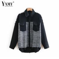 2019 women Spring black jacket women Tweed plaid pacthwork long coat women streetwear fashion plus size button jeans jacket