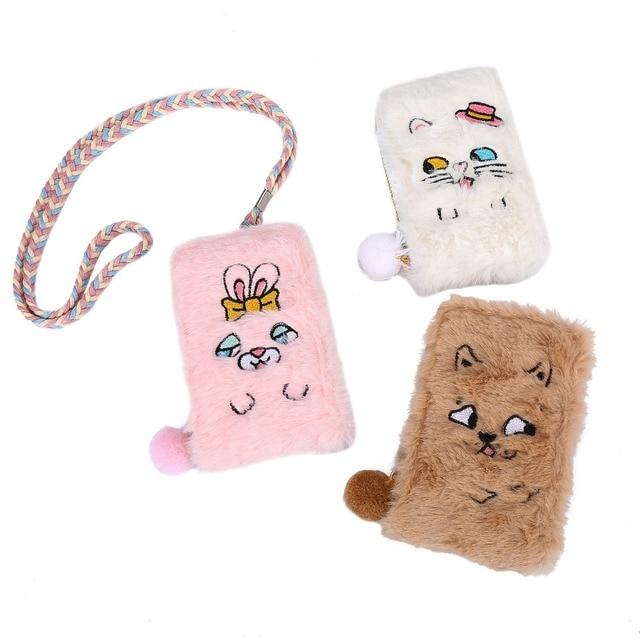 Cute plush women coin purses card holders cartoon cat zipper money bags pocket pouch kids small sling wallets coin bank case