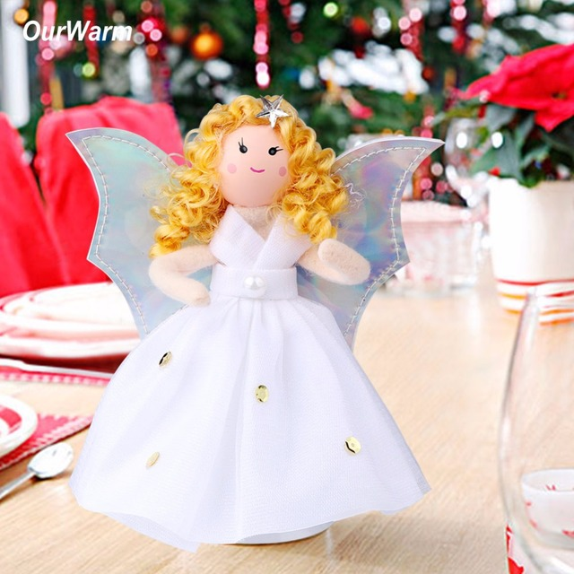 OurWarm 5pcs New Year Christmas Tree Topper Angel Guardian Years Toys Gifts