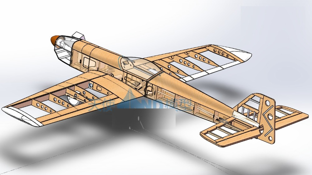 DIY balsa wood 1100mm wingspan Lower wing high speed rc trainer plane