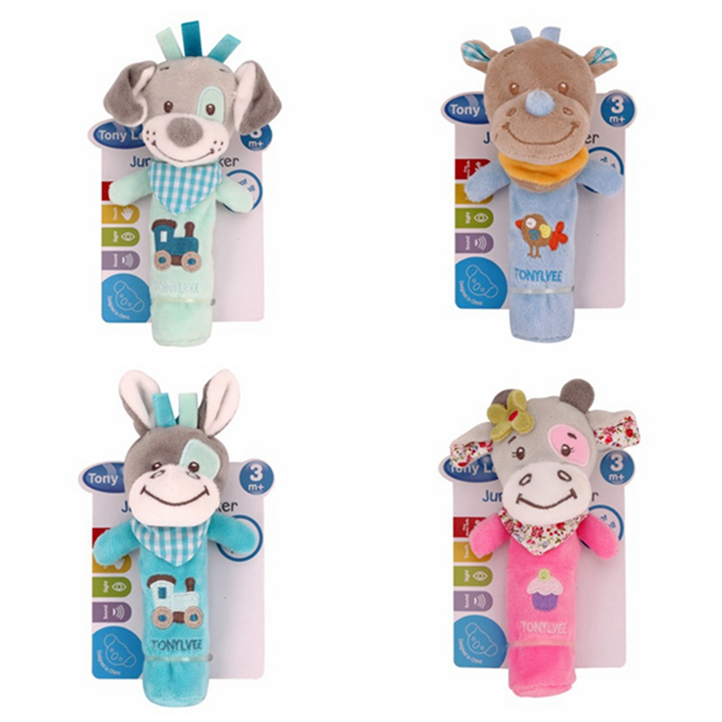 Newborn Rattles Ring Bell Baby Cartoon Animal Rattle Plush Animal Hand Bells Infant Early Educational Doll Toy