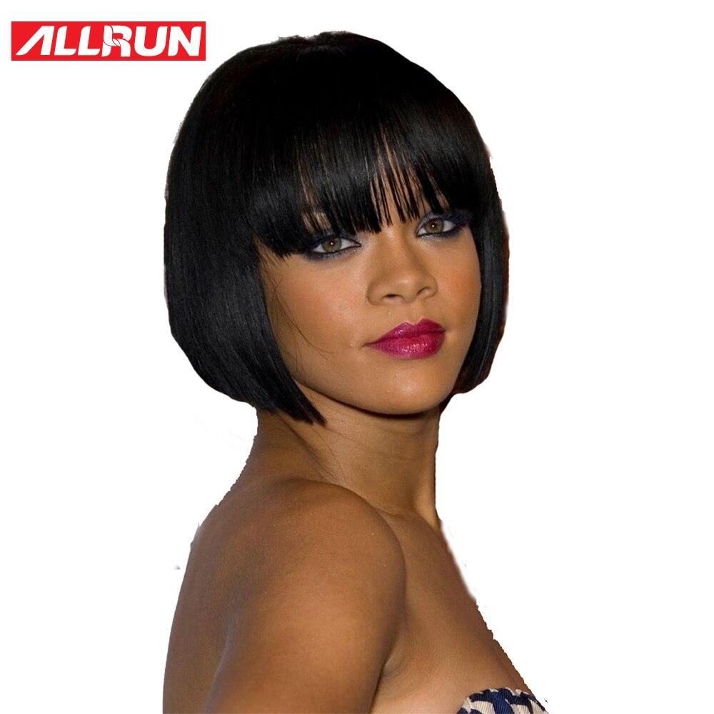ALLRUN Peruvian Non-Remy Hair Straight Bob Parykar Korta Mänskliga - Mänskligt hår (svart)