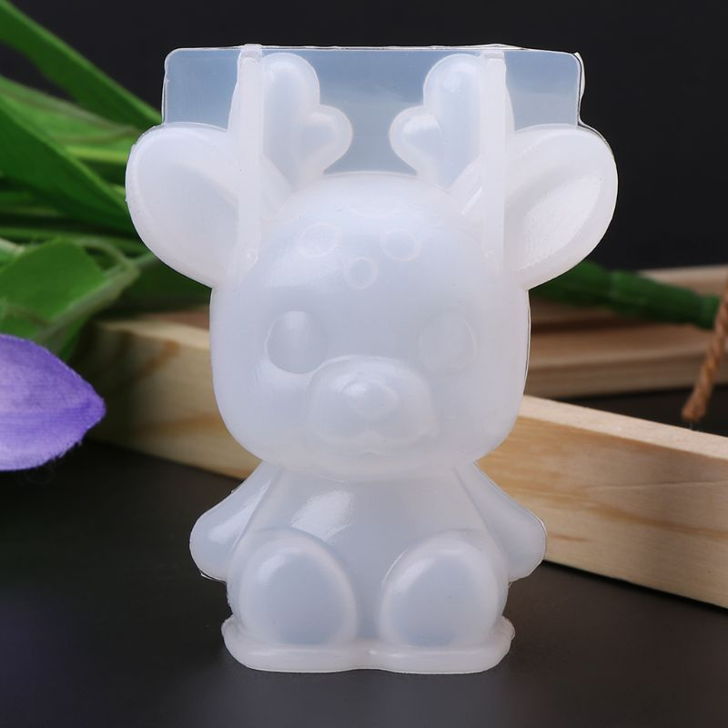 Silicone Mold 3D Animal Cute Rabbit Deer Christmas Gifts DIY Jewelry Pendant Tools Decor Crafts Resin Molds Handmade Findings