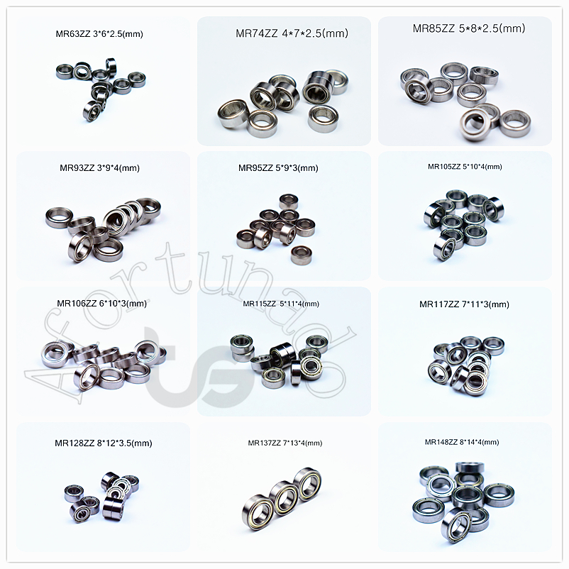 Miniature 10piece Bearings MR72 MR74 MR85 MR95-105-106-115-117-126-128-137-148 Free Shipping Metal Sealed Chrome Steel Bearing