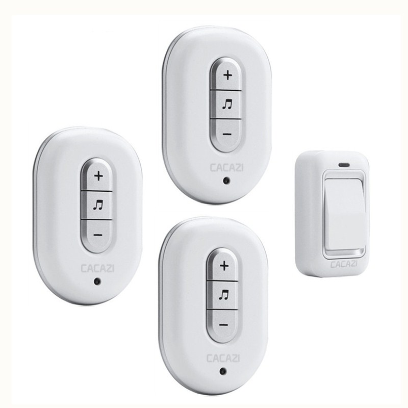 CACAZI Wireless DoorBell No Battery Need Waterproof smart Door Bell Cordless 120M Remote AC 110V-220V 1 transmitter 3 Receivers kinetic cordless smart home doorbell 2 button and 1 chime battery free button waterproof eu us uk wireless door bell