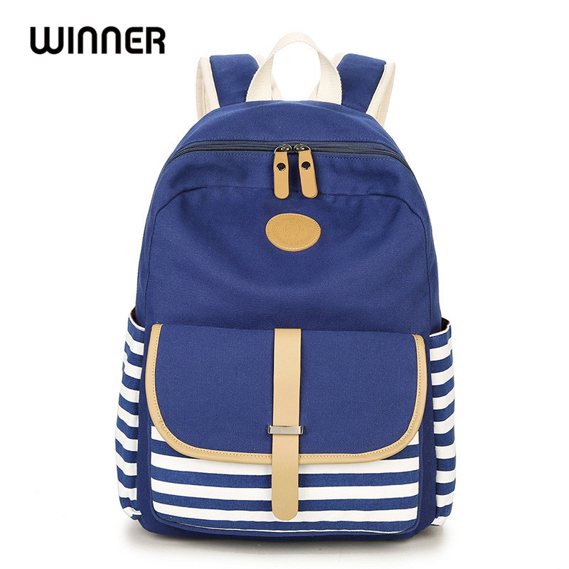 Winner Brand College Striped Women Travel Backpack Daily Book Bags Preppy School Bag for Teenagers Girl Fringe Back Pack purple flowers printed dream teenagers backpack fresh preppy adorable sthdents school bags fashion travel hiking computer bag