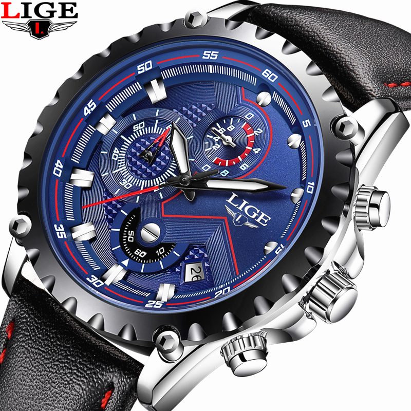 LIGE Watch Men Fashion Sport Quartz Watch Mens Watches Top Brand Luxury Waterproof Military Leather Date Clock Relogio Masculino  new crrju mens watches top brand luxury quartz watch men waterproof sport military watches men leather relogio masculino 2017