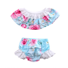 Fashion Toddler Baby Kids Girls Lace Floral Clothes Off-Shoulder Crop Tops+ Ruffles Shorts Summer Outfits Set